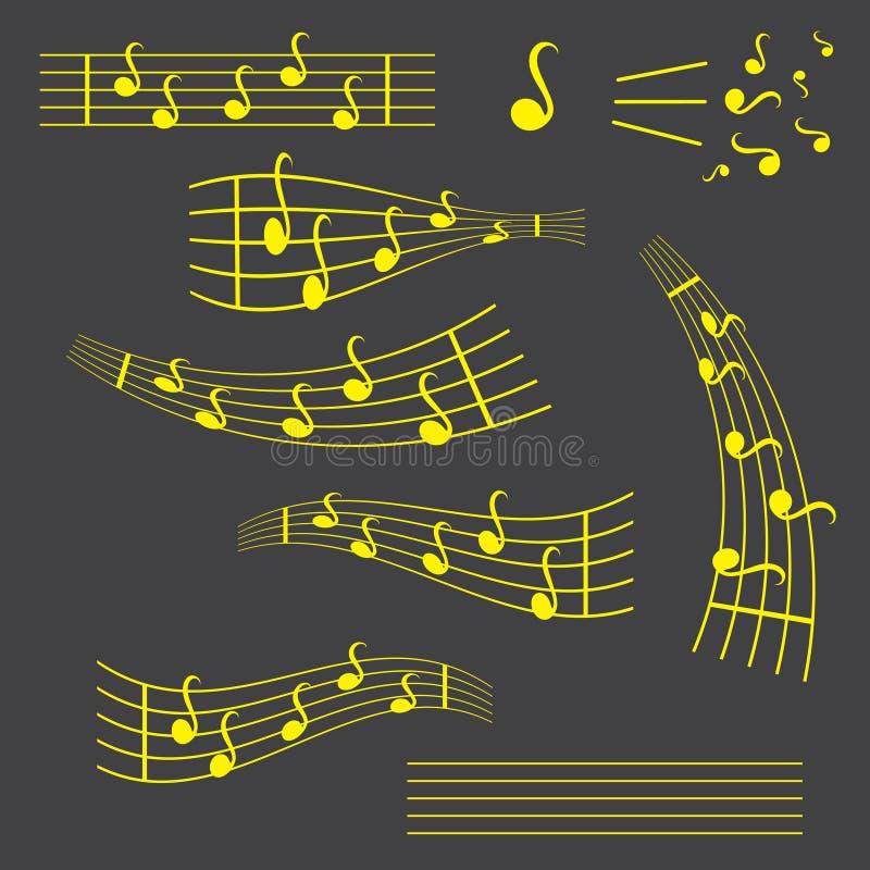 Icono plano del vector de las notas, de la canción, de la melodía o del tono de la música para los apps musicales y las páginas w stock de ilustración