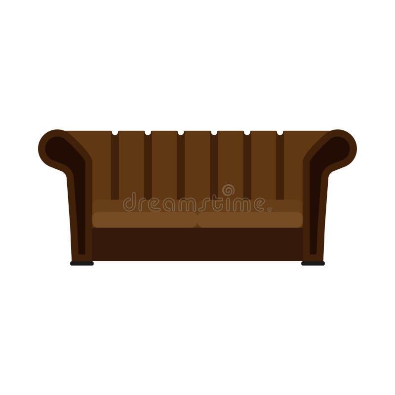Icono plano del vector de los muebles cómodos del brownlifestyle del diván Vista delantera de la TV del sofá de la sala de estar  ilustración del vector