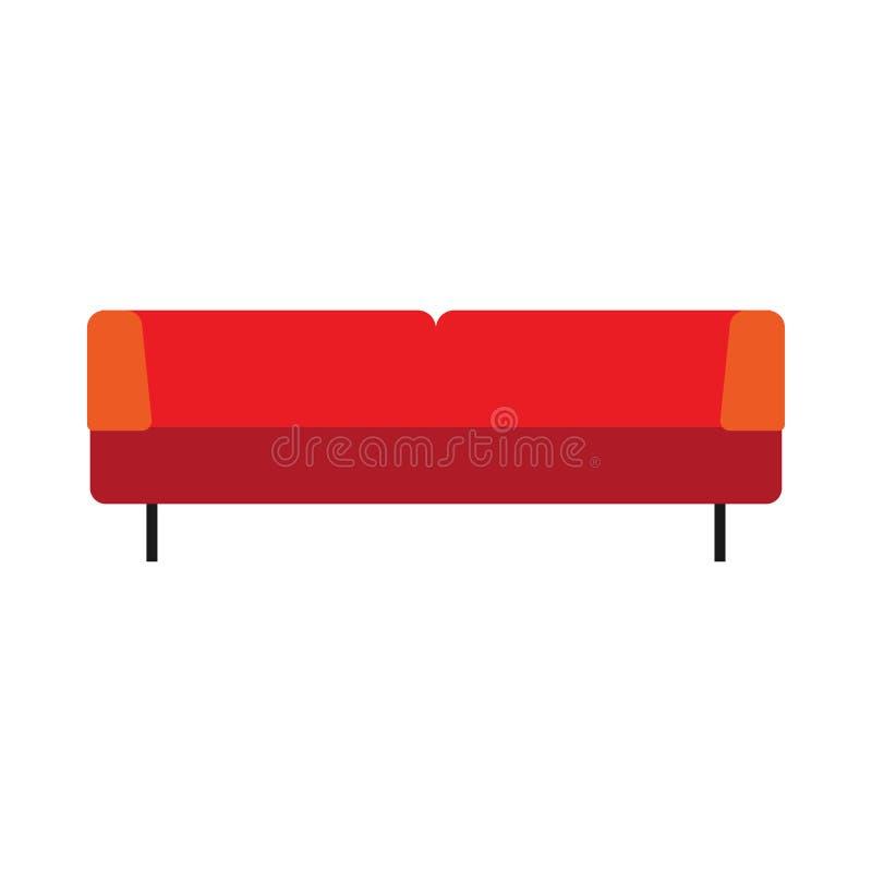 Icono plano del vector de los muebles cómodos rojos de la forma de vida del diván Casa interior de la TV del sofá del diseño bril libre illustration
