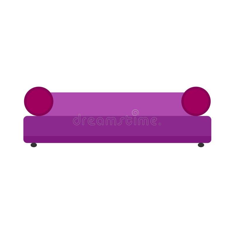 Icono plano del vector de los muebles cómodos violetas de la forma de vida del diván Vista delantera de la TV del sof? de la sala libre illustration