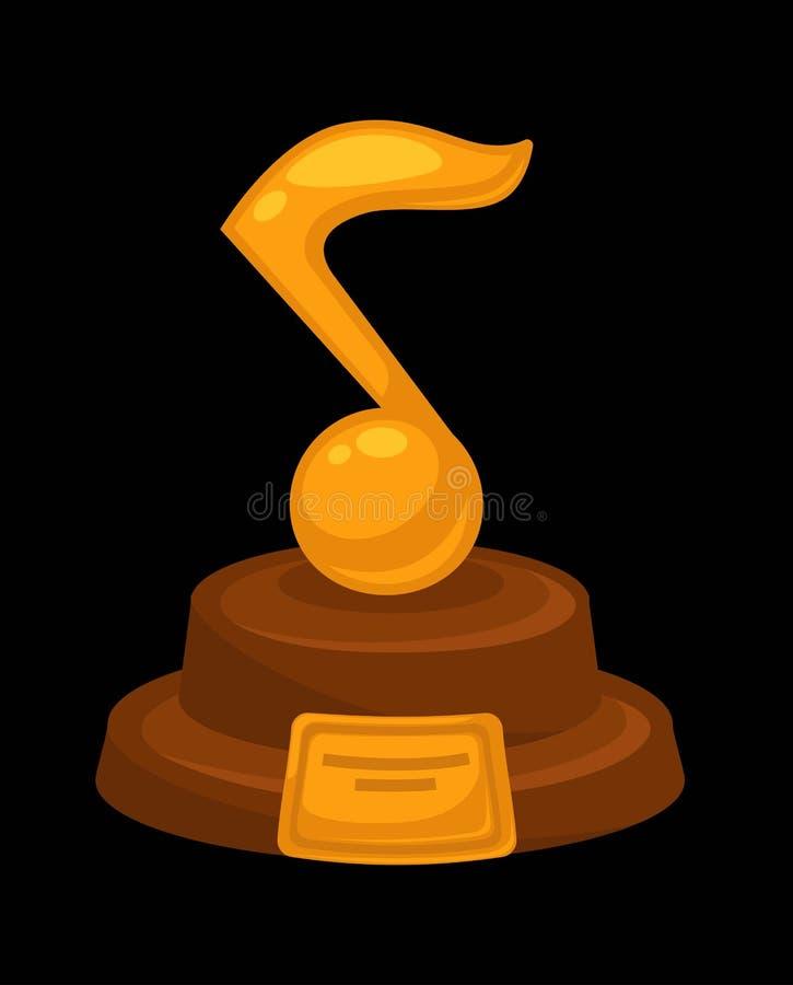 Icono plano del vector de oro premiado de la nota musical del premio de la música para el ganador del nombramiento ilustración del vector