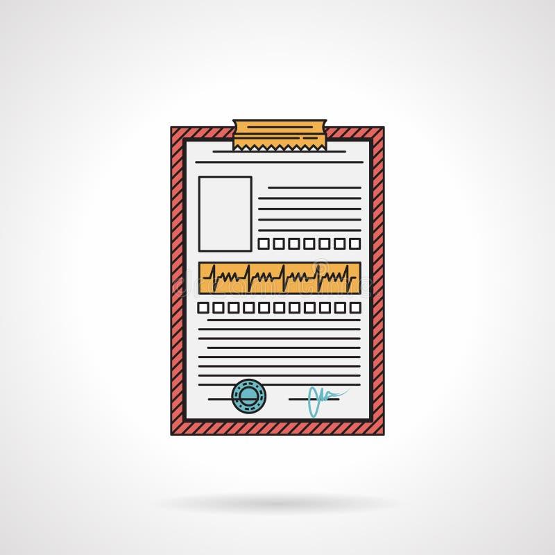 Icono plano del vector del historial médico ilustración del vector