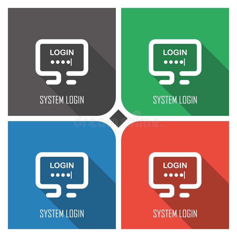 Icono plano del vector del inicio de sesión del sistema en fondo colorido iconos simples eps8 del web de la PC ilustración del vector