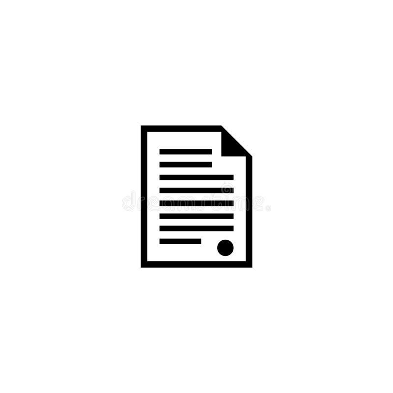 Icono plano del vector del documento del certificado stock de ilustración