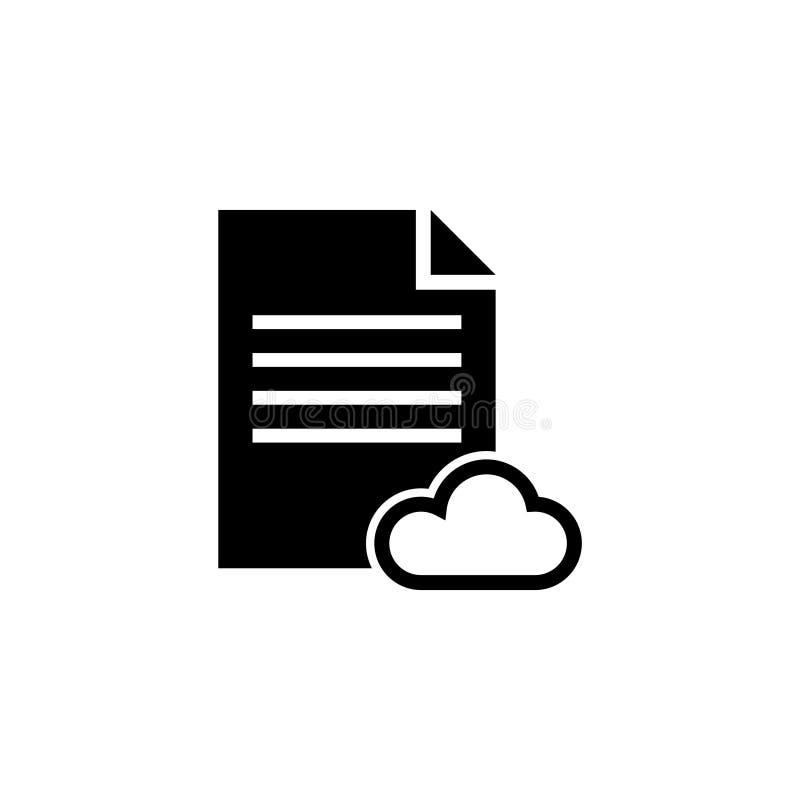 Icono plano del vector del documento de texto del almacenamiento de la nube stock de ilustración