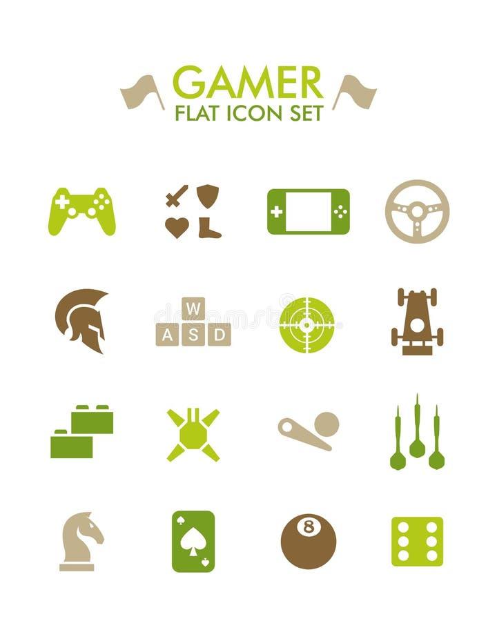 Icono plano del vector fijado - videojugador libre illustration