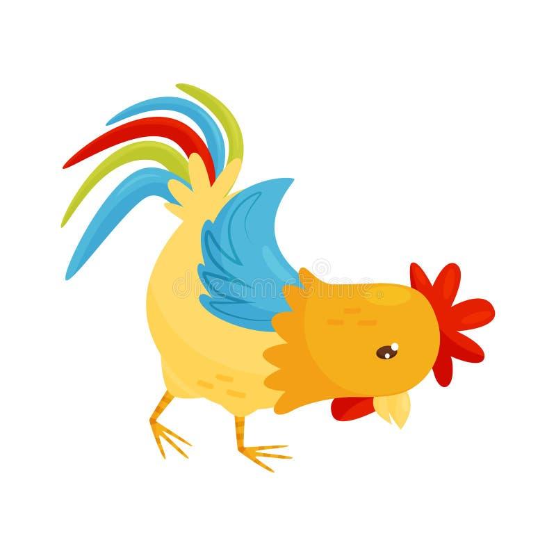 Icono plano del vector del gallo Pájaro de la granja con las plumas amarillo-naranja, la cola enorme y la concha de peregrino roj libre illustration