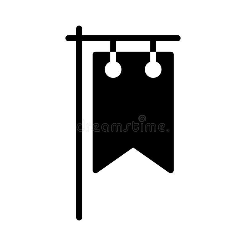 Icono plano del vector del glyph de los anuncios stock de ilustración
