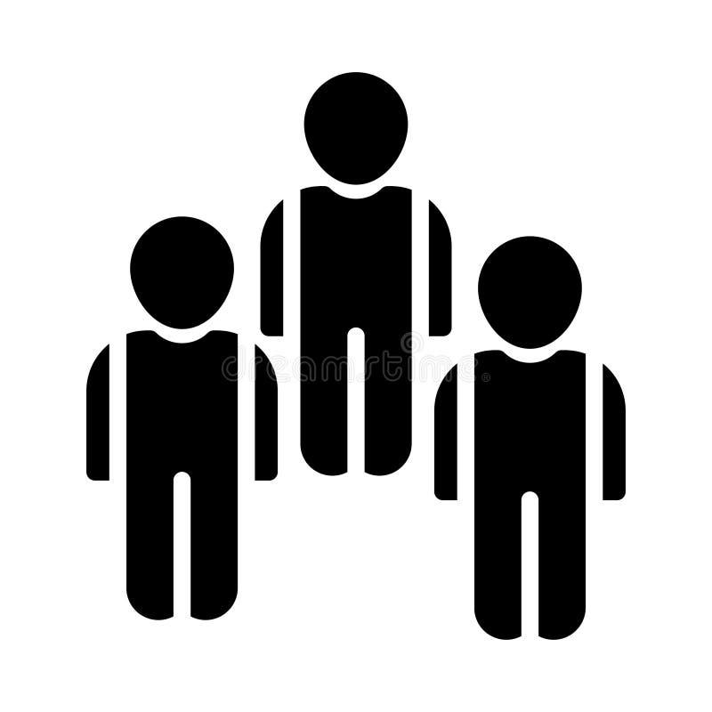 Icono plano del vector del glyph del equipo stock de ilustración
