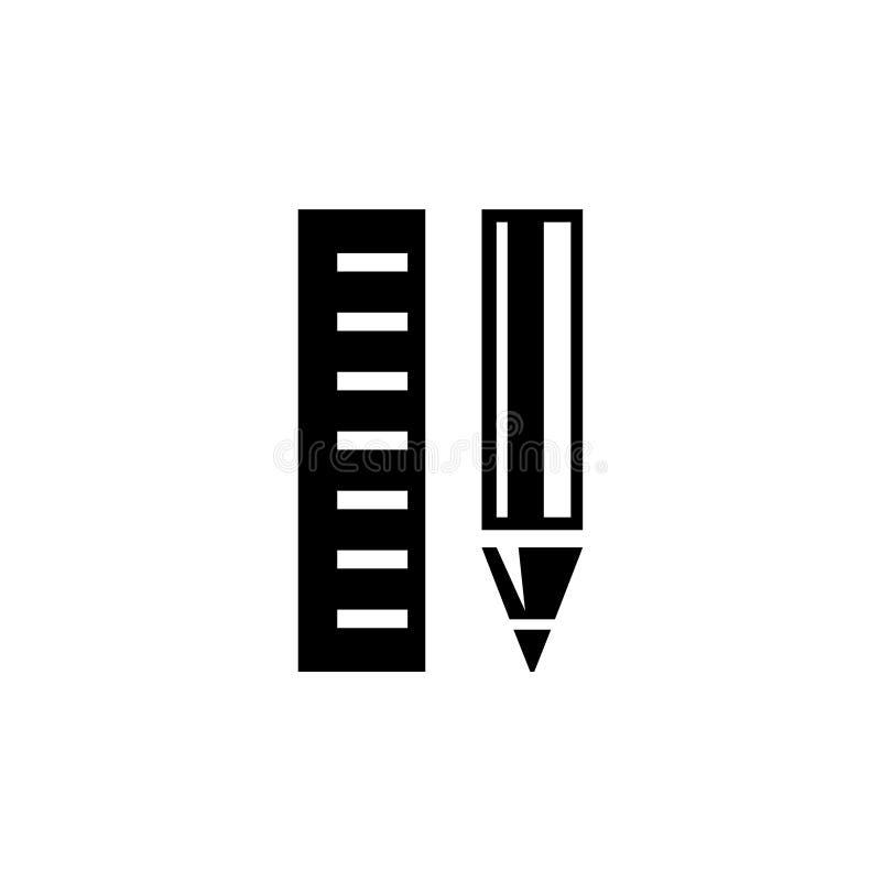 Icono plano del vector del lápiz y de la regla libre illustration