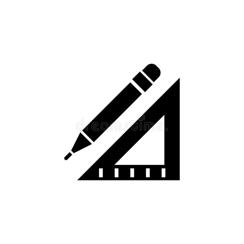 Icono plano del vector del lápiz y de la regla stock de ilustración