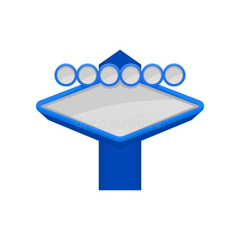 Icono plano del vector del letrero azul brillante con el lugar para su texto Cartelera vacía Elemento para el app móvil, haciendo libre illustration