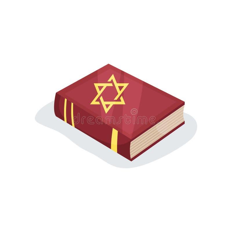 Icono plano del vector del libro de oración judío de textos sagrados Biblia hebrea con la estrella del símbolo de David en la cub stock de ilustración