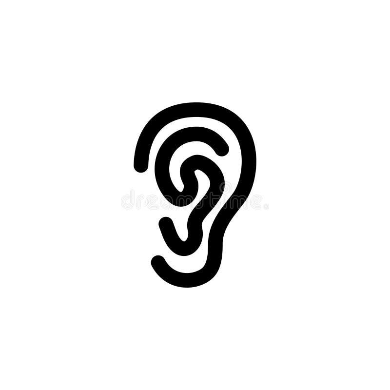 Icono plano del vector del oído stock de ilustración