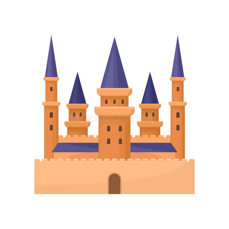 Icono plano del vector del palacio real Escúdese con las altas torres y el tejado cónico púrpura Elemento para el juego o los niñ libre illustration