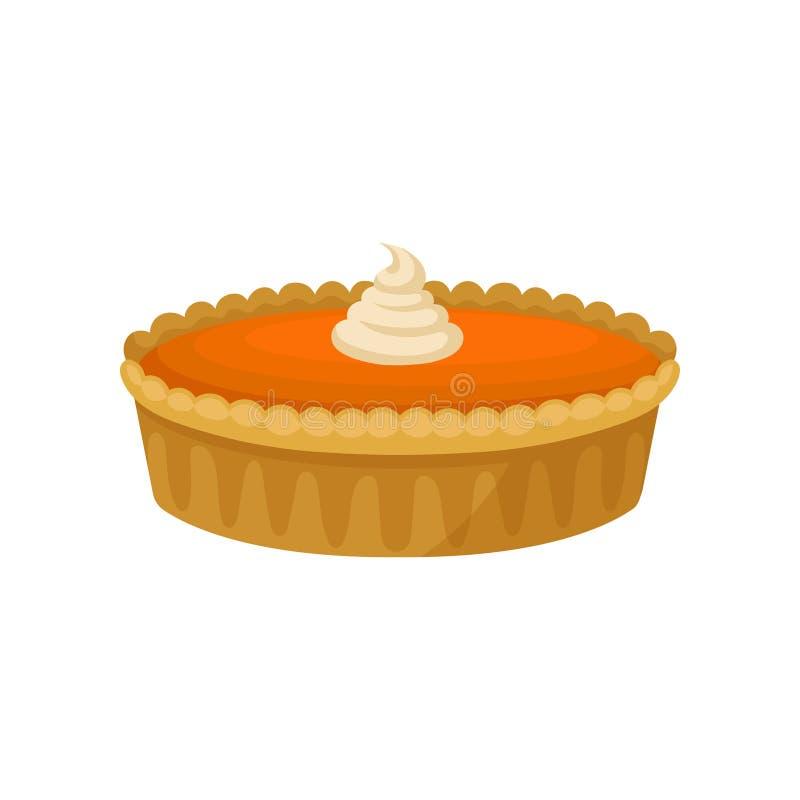Icono plano del vector del pastel de calabaza con crema azotada en el top Postre tradicional de la cocina americana Comida del dí ilustración del vector
