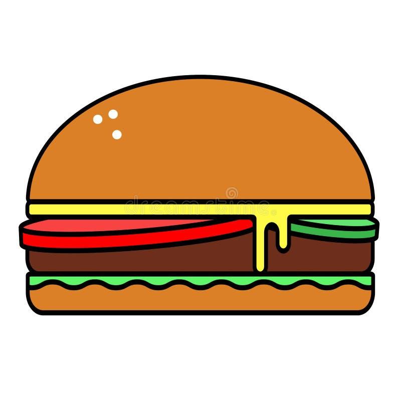 Icono plano del vector sabroso dañino de la hamburguesa aislado en el fondo blanco ilustración del vector