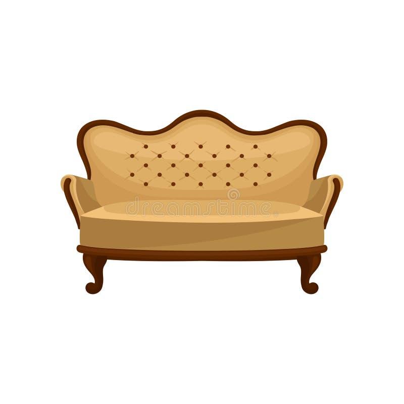 Icono plano del vector del sofá clásico del vintage Sofá de madera con el ajuste beige Objeto interior Muebles antiguos de lujo p libre illustration