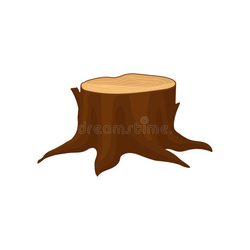 Icono plano del vector del tocón de árbol marrón viejo con los anillos de crecimiento anuales y las raíces grandes Elemento natur stock de ilustración