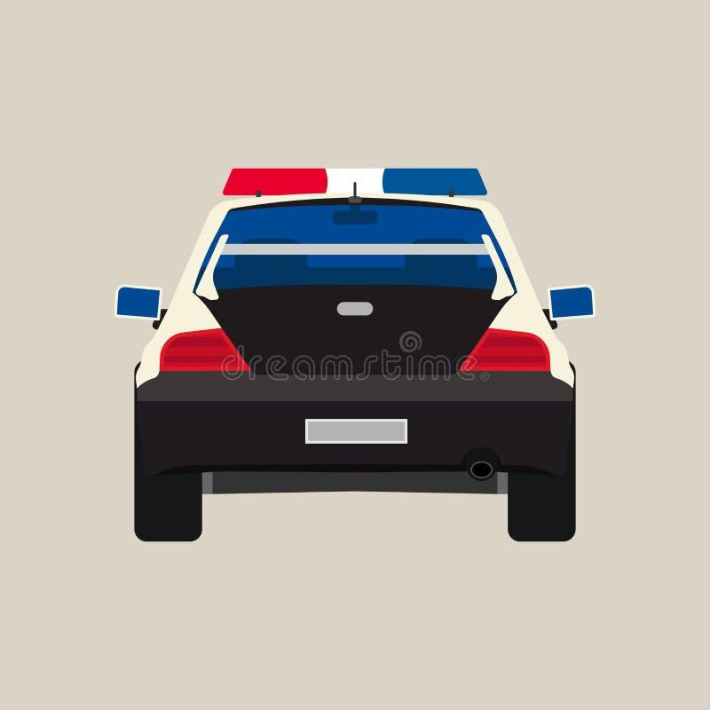 Icono plano del vector trasero de la opinión del coche policía Crimen negro aislado poli de la patrulla del vehículo Linterna urb stock de ilustración