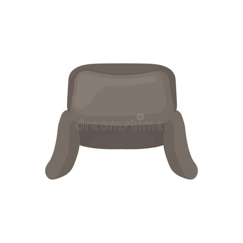 Icono plano del vector del ushanka gris Casquillo ruso nacional con las aletas del oído Sombrero de piel caliente Tocado del invi libre illustration
