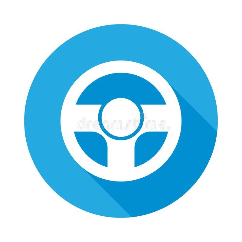 Icono plano del volante con la sombra larga Elemento del ejemplo de los servicios de reparación del coche Icono superior del dise libre illustration