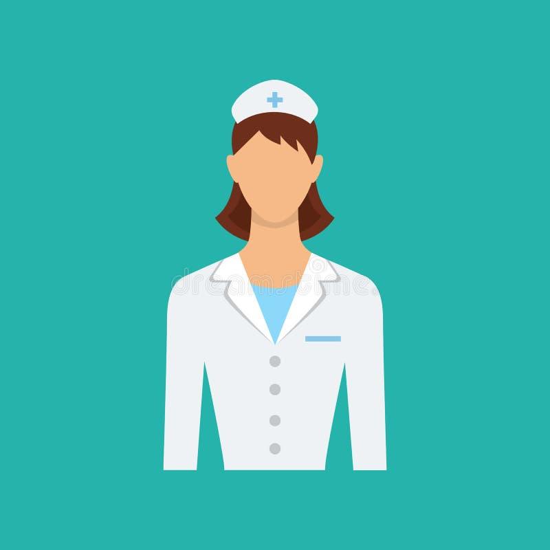 Icono plano del web Doctor de sexo femenino, enfermera Carácter aislado del vector libre illustration