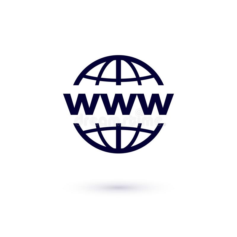 Icono plano del WWW Ejemplo del concepto del vector para el diseño Icono del World Wide Web libre illustration