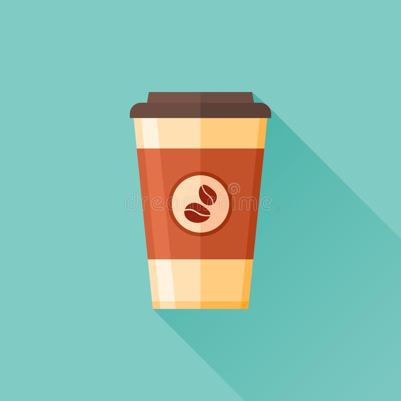 Icono plano disponible de la taza de café Takeaway del café ilustración del vector