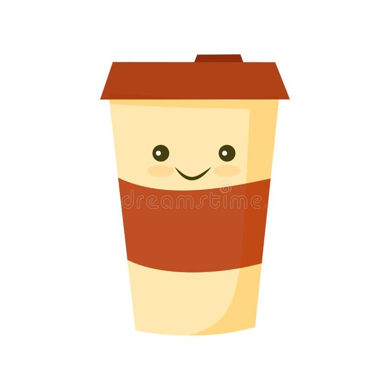 Icono plano en blanco de la taza de café libre illustration