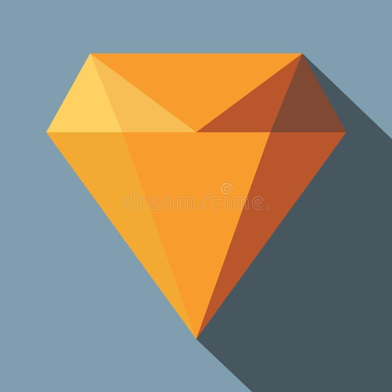 Icono plano esmeralda del ejemplo del diamante Icono esmeralda del vector del diamante para el diseño web con la sombra stock de ilustración