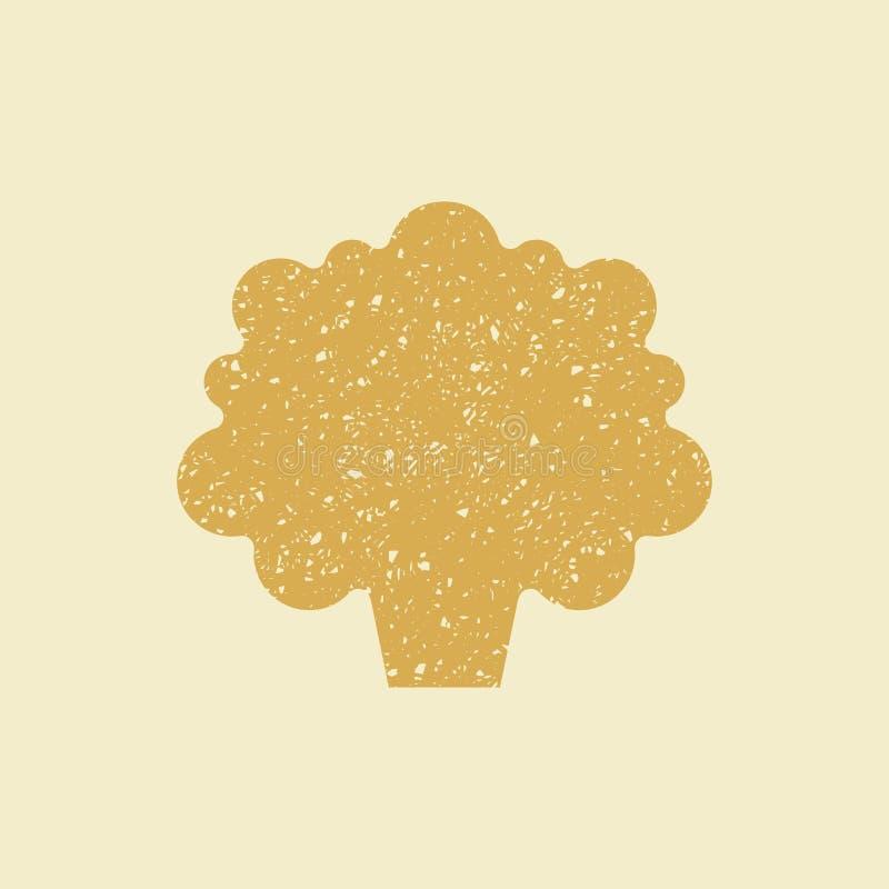 Icono plano estilizado de una coliflor, stock de ilustración