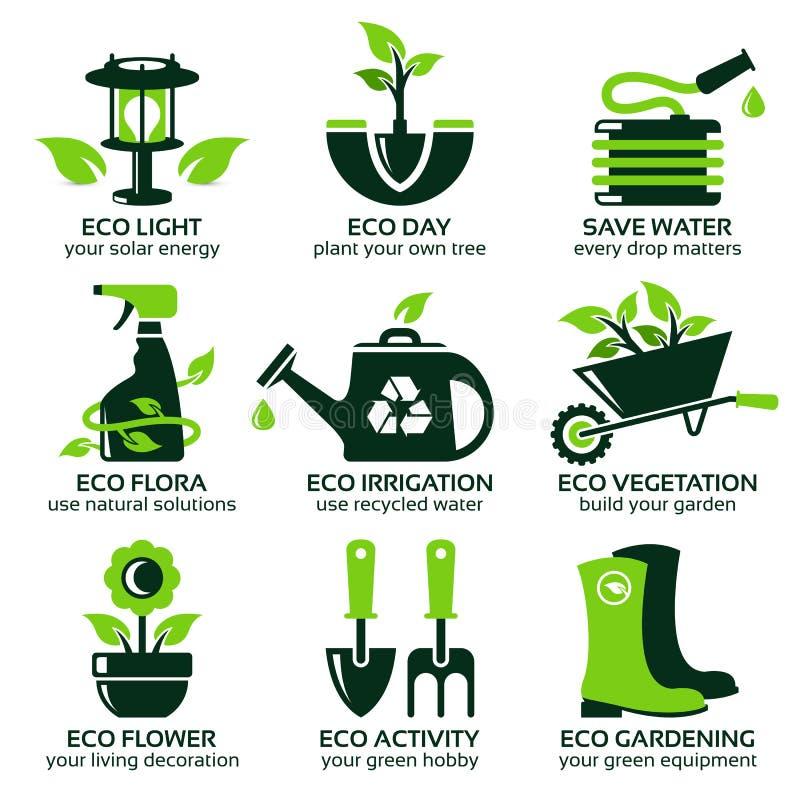 Icono plano fijado para el jardín verde del eco stock de ilustración