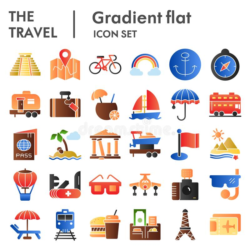 Icono plano fijado, símbolos colección, bosquejos del vector, ejemplos del logotipo, pendiente del viaje del turismo del color  stock de ilustración