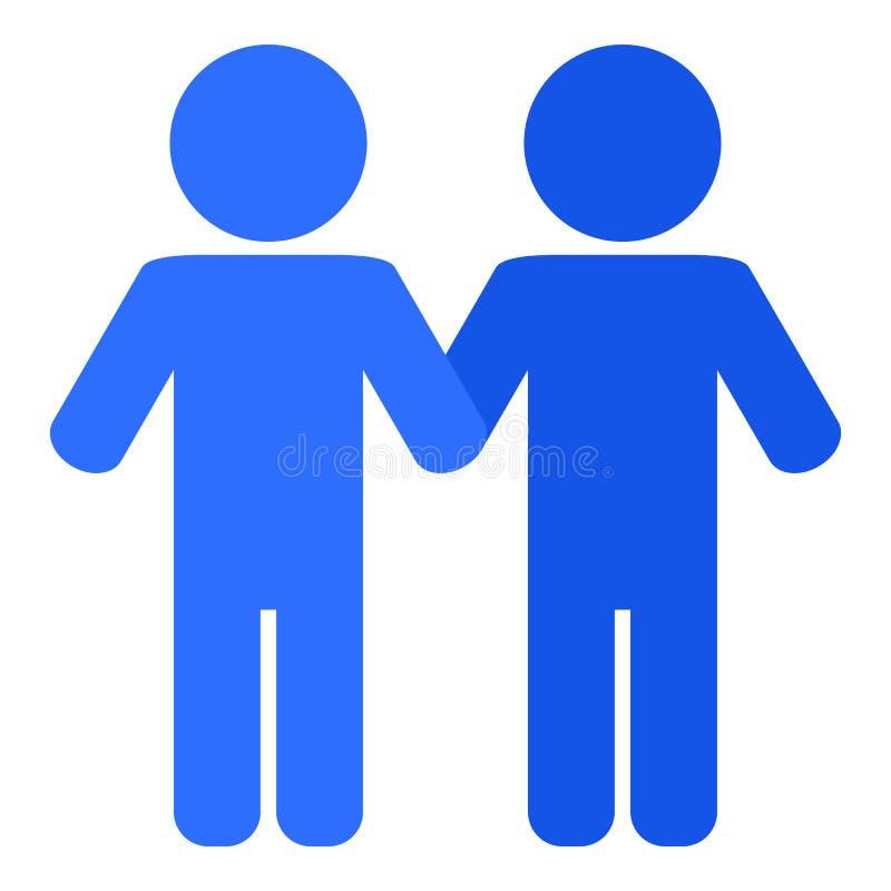 Icono plano gay azul aislado en blanco stock de ilustración