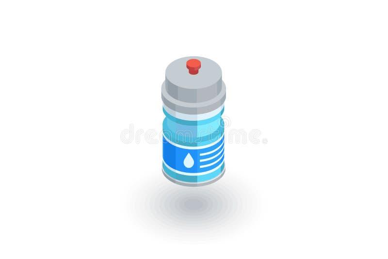 Icono plano isométrico de la botella de agua del deporte vector 3d ilustración del vector