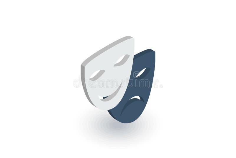 Icono plano isométrico de la máscara del teatro vector 3d ilustración del vector