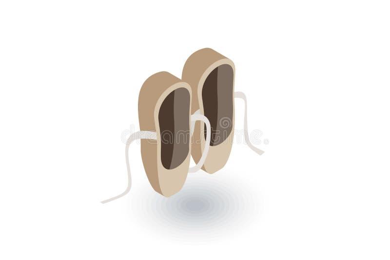 Icono plano isométrico de los zapatos de ballet vector 3d stock de ilustración