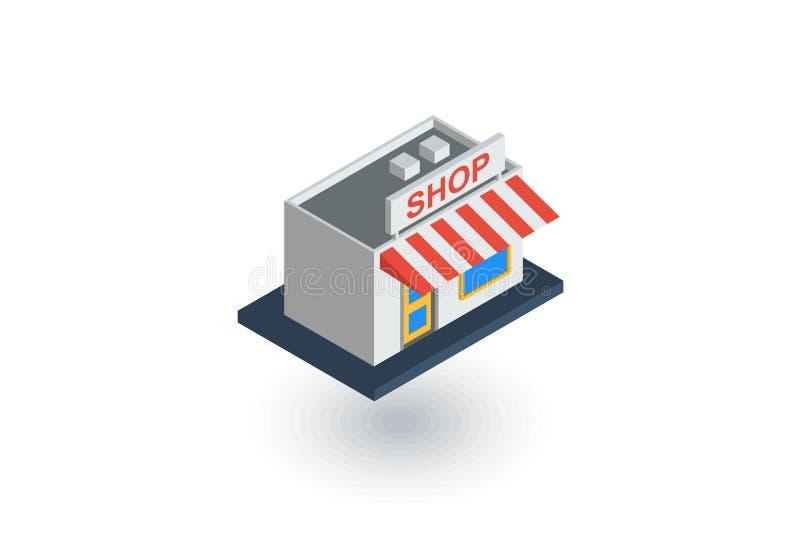 Icono plano isométrico del edificio comercial vector 3d ilustración del vector