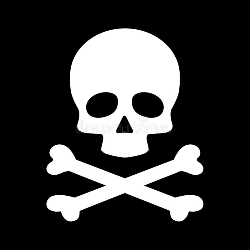 Icono plano moderno de la bandera pirata del cráneo aislado en fondo negro ilustración del vector