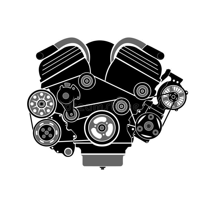 Icono plano Motor de forma de V, visión frontal Aislado en el fondo blanco stock de ilustración
