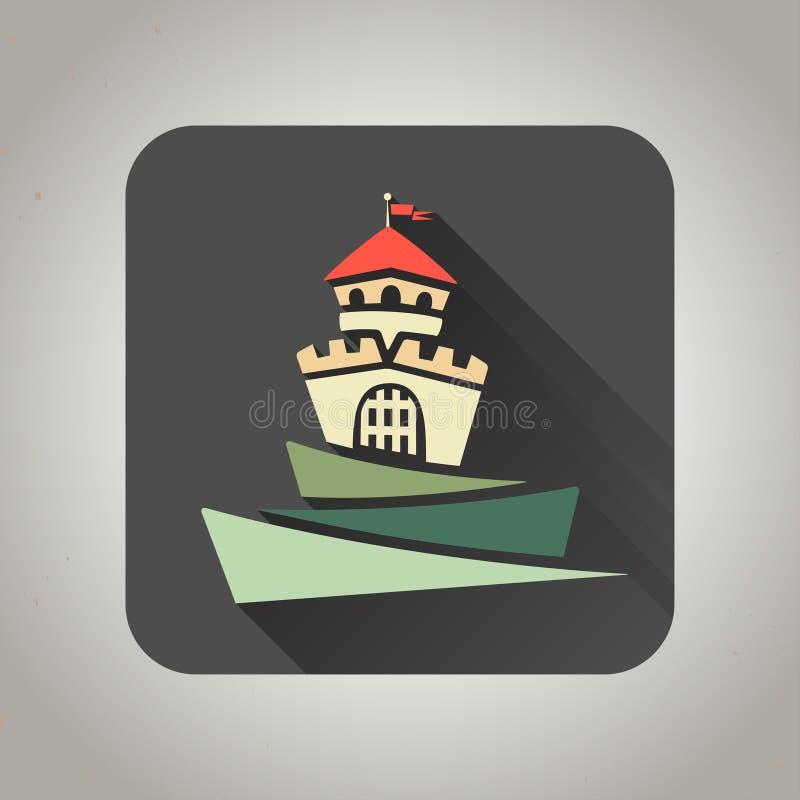 Icono plano negro del castillo para el web y el móvil stock de ilustración
