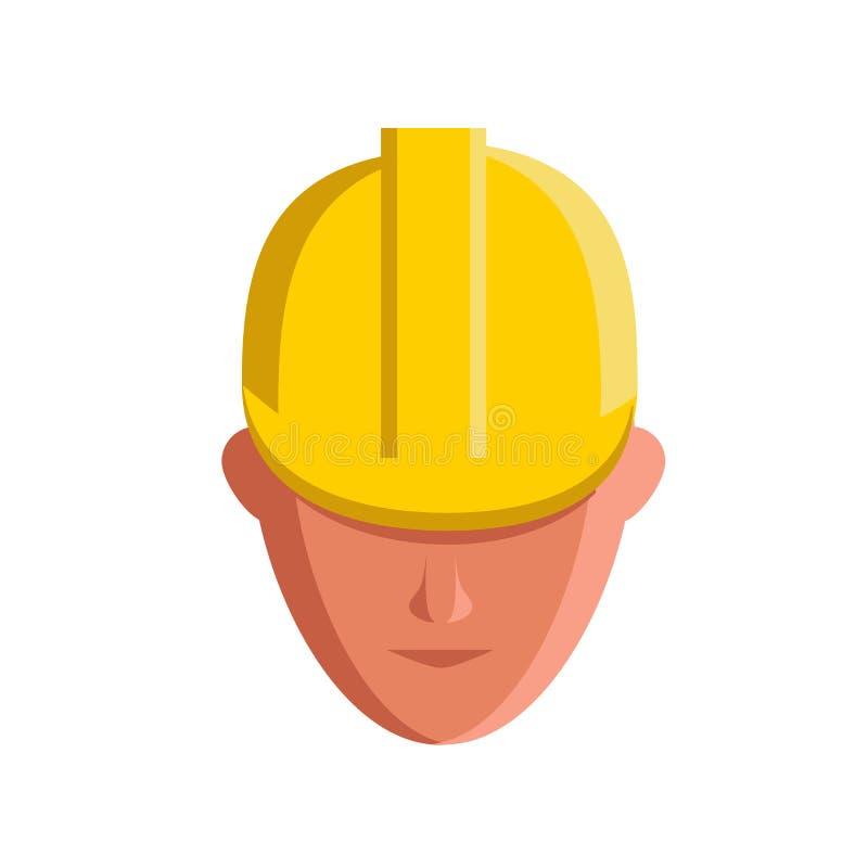Icono plano que promueve uso del casco como medida de seguridad en el trabajo stock de ilustración