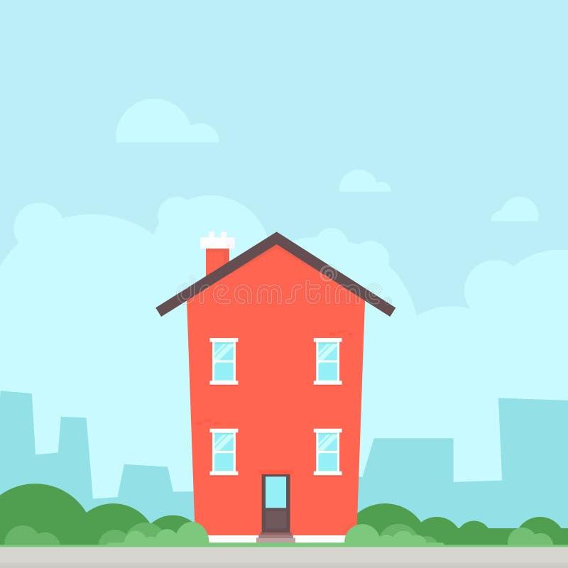 Icono plano rojo de la casa ilustración del vector