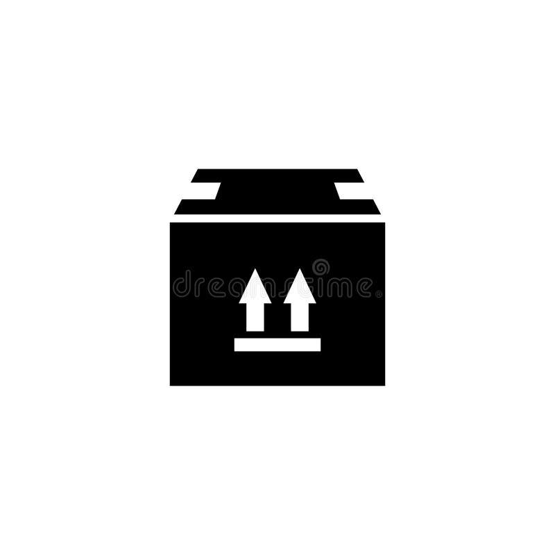 Icono plano sellado del vector de la caja de cartón stock de ilustración