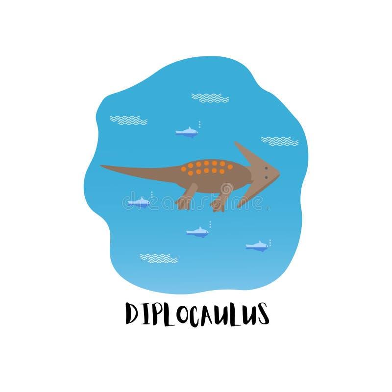 Icono plano simple del estilo de Diplocaulus Pictograma del anfibio antiguo para la impresión en la camiseta ilustración del vector