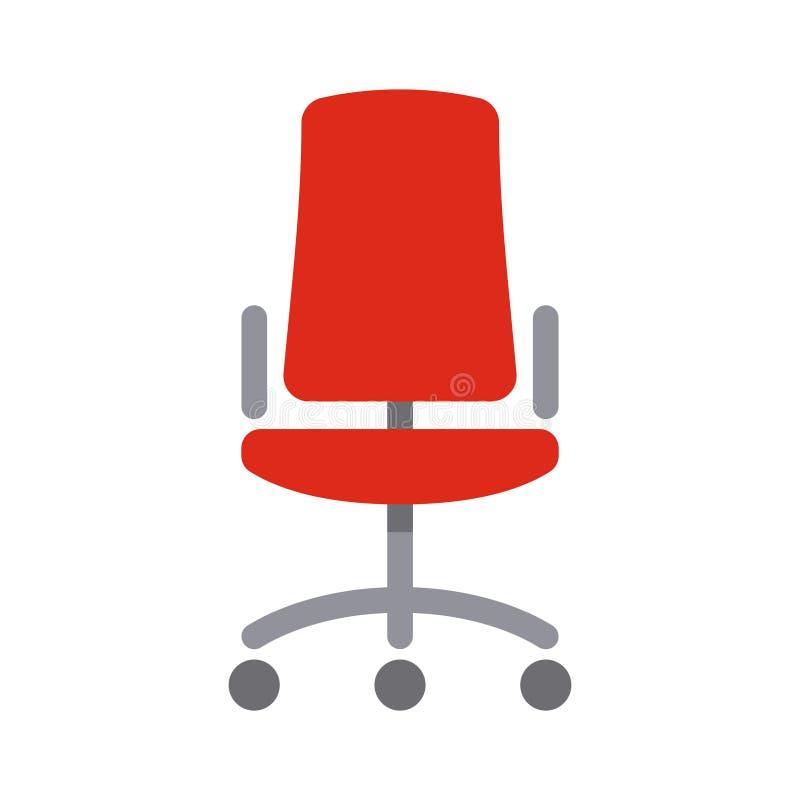 Icono plano simple del estilo de la silla roja de la oficina ilustración del vector