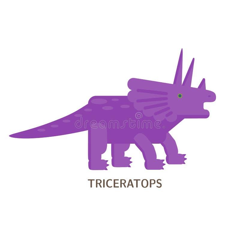 Icono plano simple del estilo del Triceratops Pictograma del dinosaurio para la impresión en la camiseta ilustración del vector