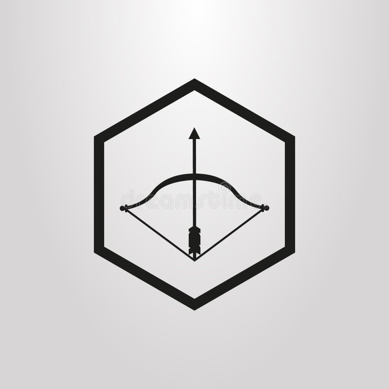 Icono plano simple del vector del arte de un arco y de una flecha en un marco del hexágono stock de ilustración