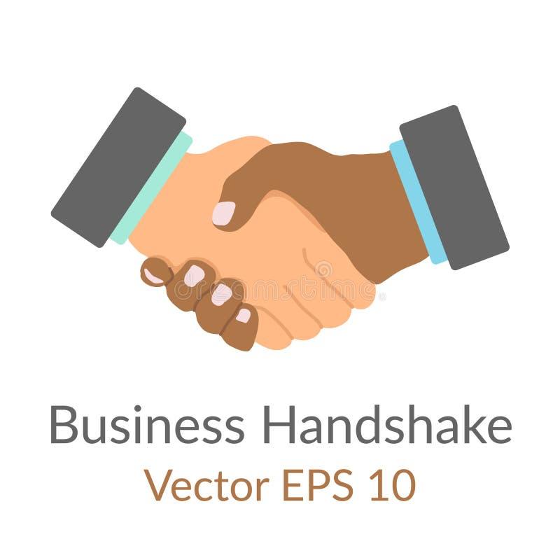 Icono plano simple handdrawn del apretón de manos del negocio, concepto de acuerdo del socio o buen trato, historieta del color d ilustración del vector